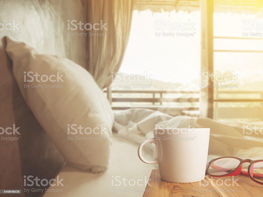 Nice morning bedroom with coffee stock photo