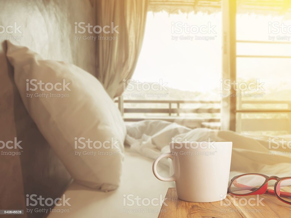 Nice morning bedroom with coffee stock photo