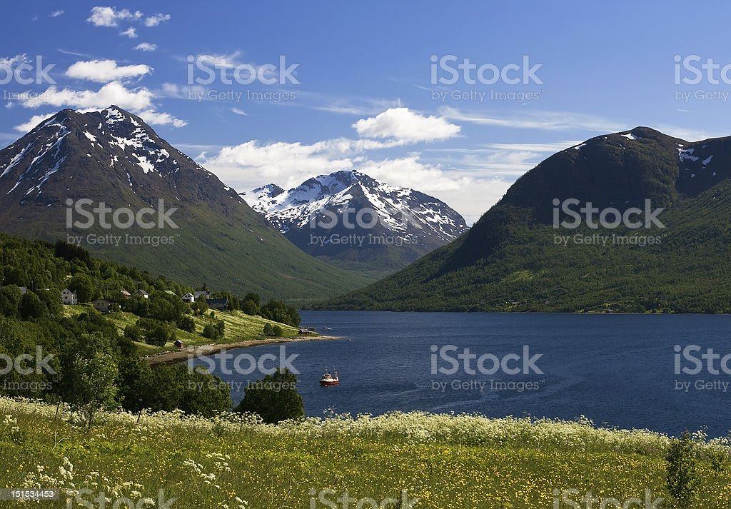 Nice mountaine and sea view in Norway stock photo
