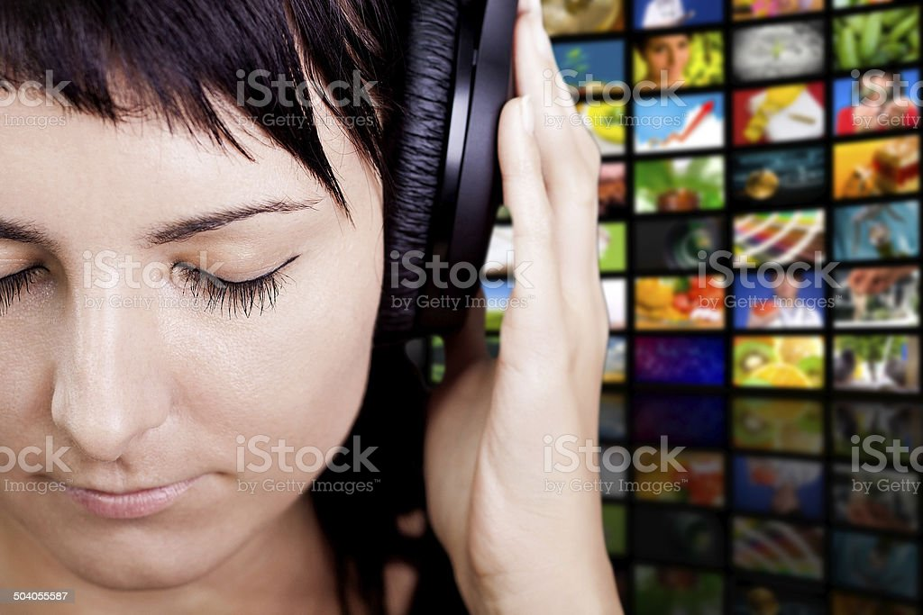 Nice Music. Woman enjoying music. stock photo