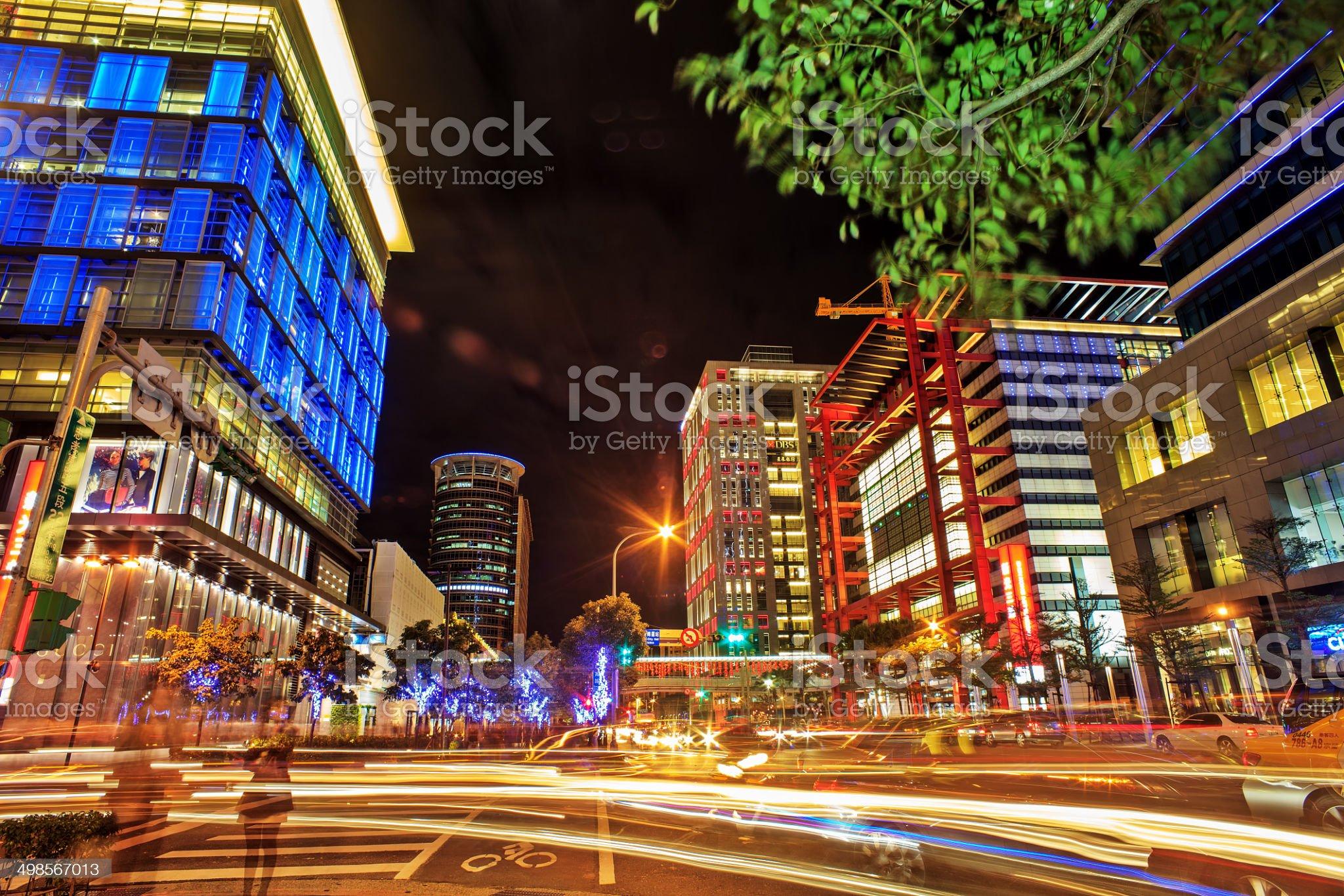 Nice night view of Taipei city royalty-free stock photo