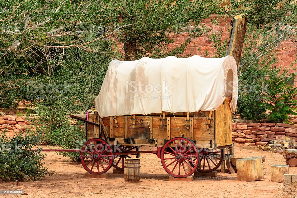 Nice old covered wagon in the old West, Arizona stock photo