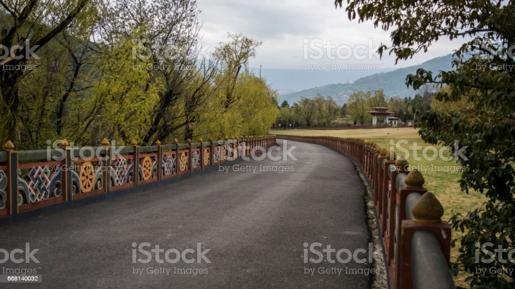 Nice pathway inside Tashichho Dzong stock photo