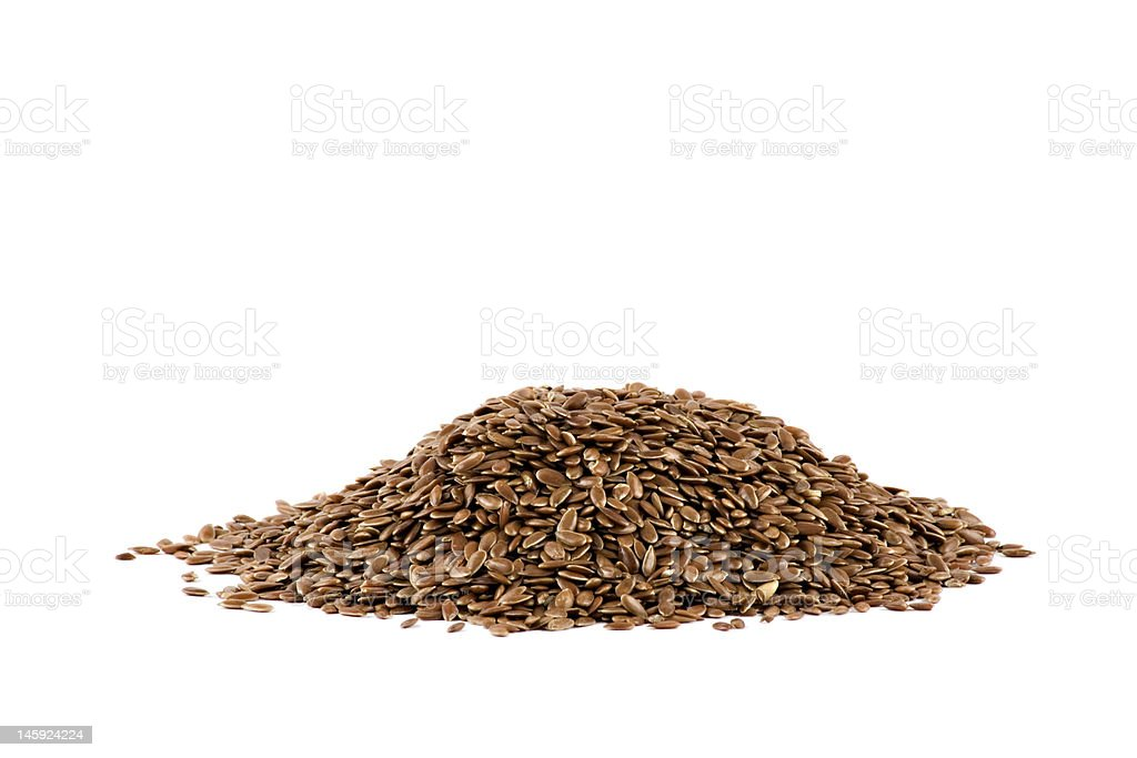 Nice pile of some flaxseed isolated on white background royalty-free stock photo