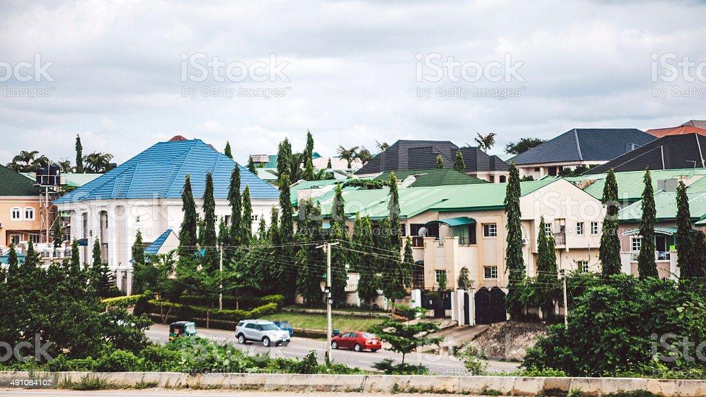 Nice residential area near Abuja, Nigeria. stock photo