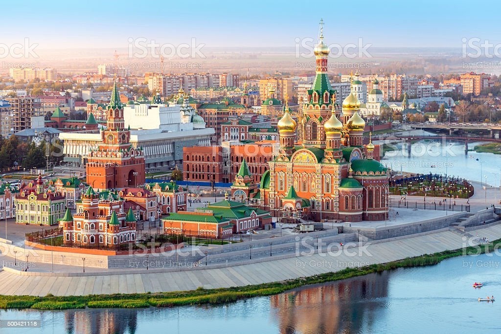 Nice Russian Town On River stock photo
