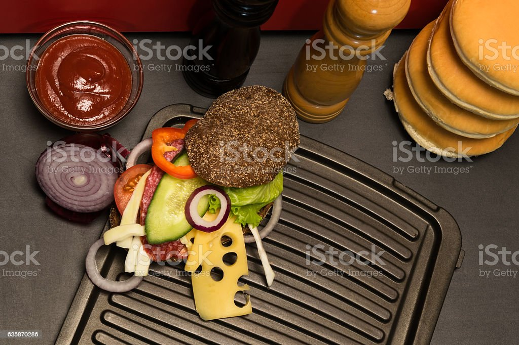 nice sandwich on the grill, top view stock photo