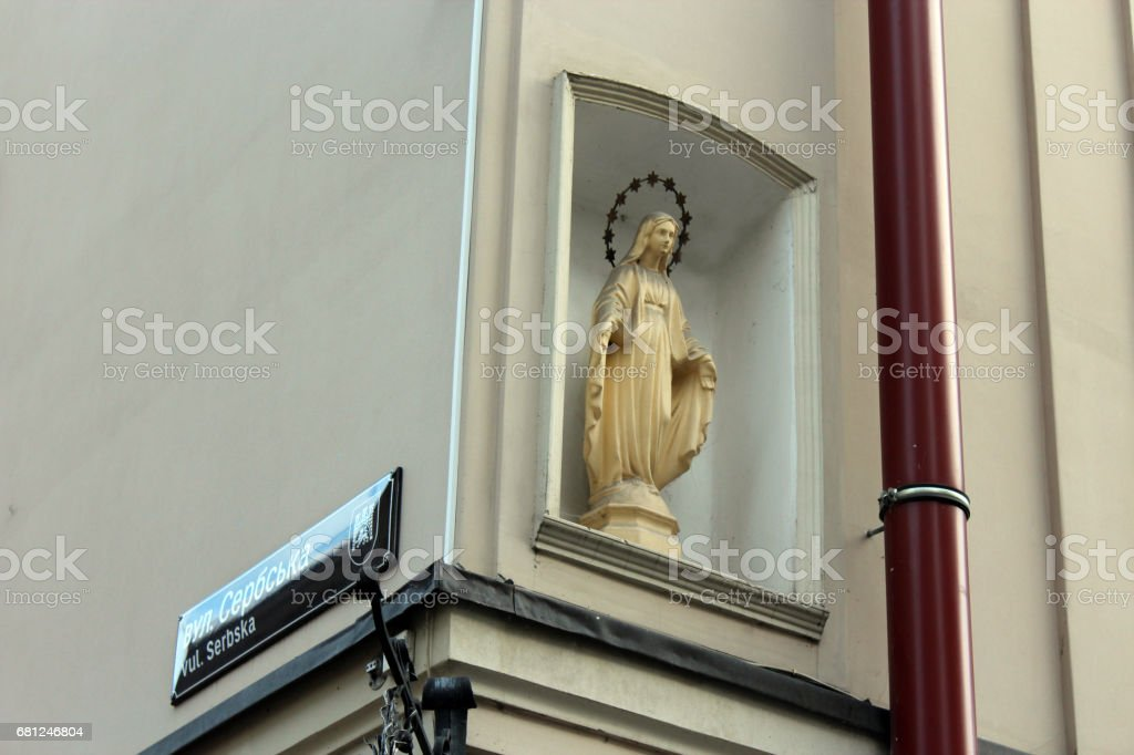 nice sculpture of God's mother Maria in Lviv stock photo