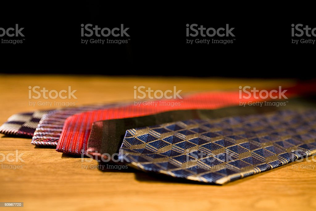 Nice selection of men's silk ties. stock photo