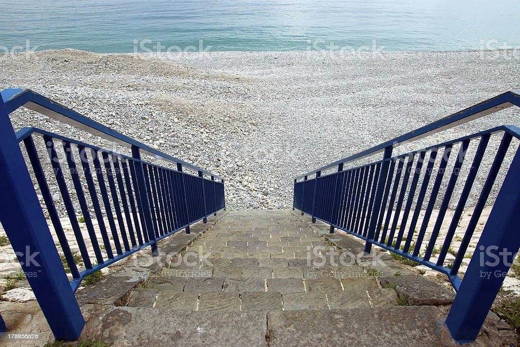 Nice - Stairs to beach royalty-free stock photo