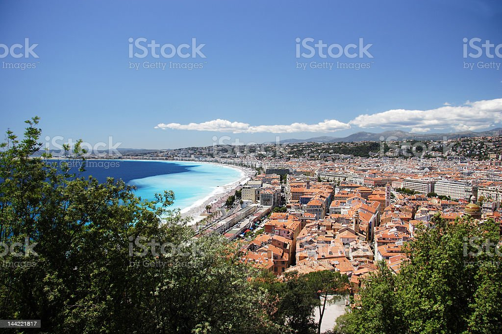 Nice town through the trees royalty-free stock photo