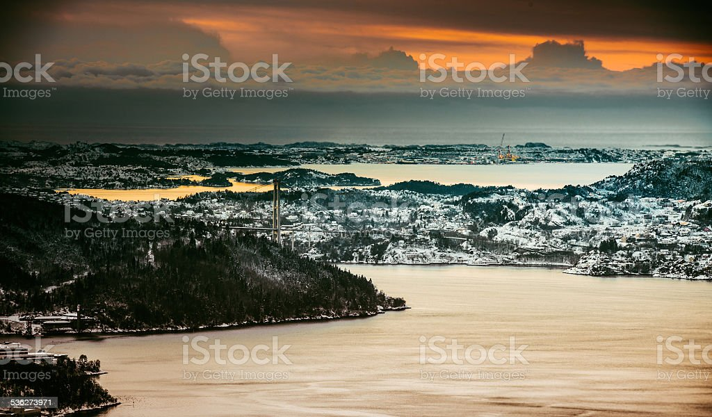 nice view from the mountains stock photo