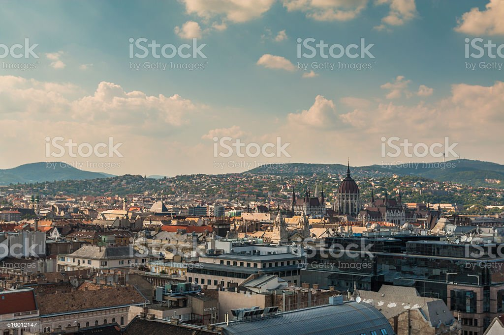 Nice view of Budapest from Cathedral roof stock photo