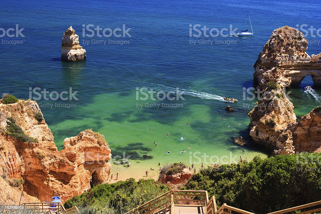 A nice view of the beach and the Algarve rock in Portugal stock photo