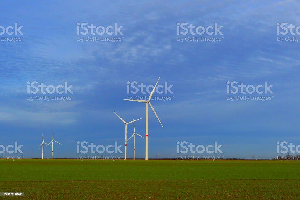 nice wind turbines stock photo