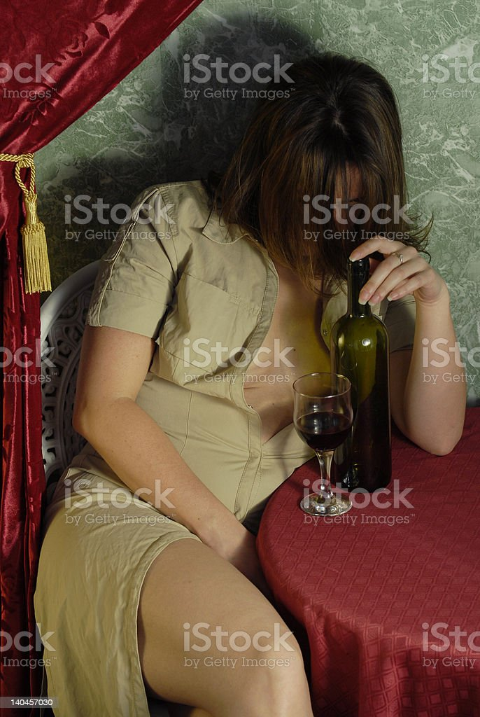 Nice woman drinking red wine 2 royalty-free stock photo