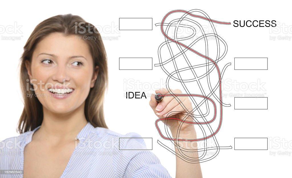 Nice woman solving jigsaw stock photo