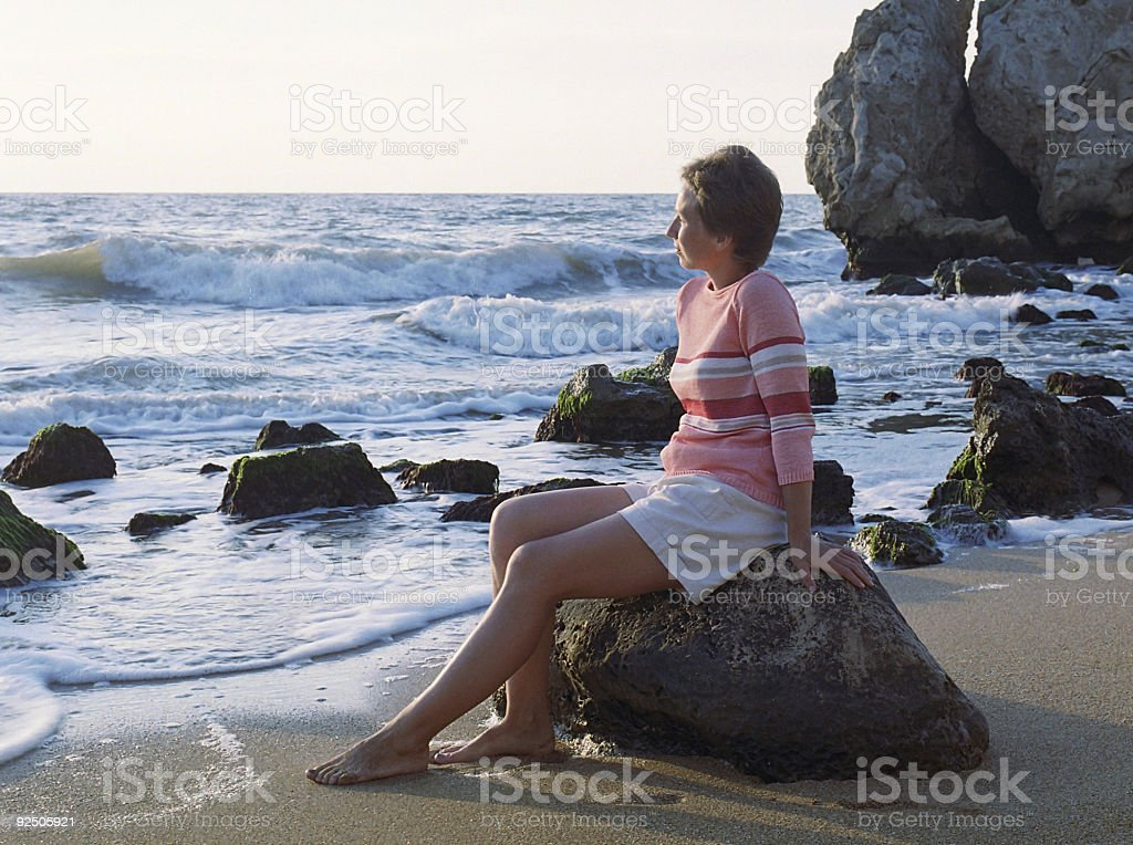 Nice women on the beach royalty-free stock photo