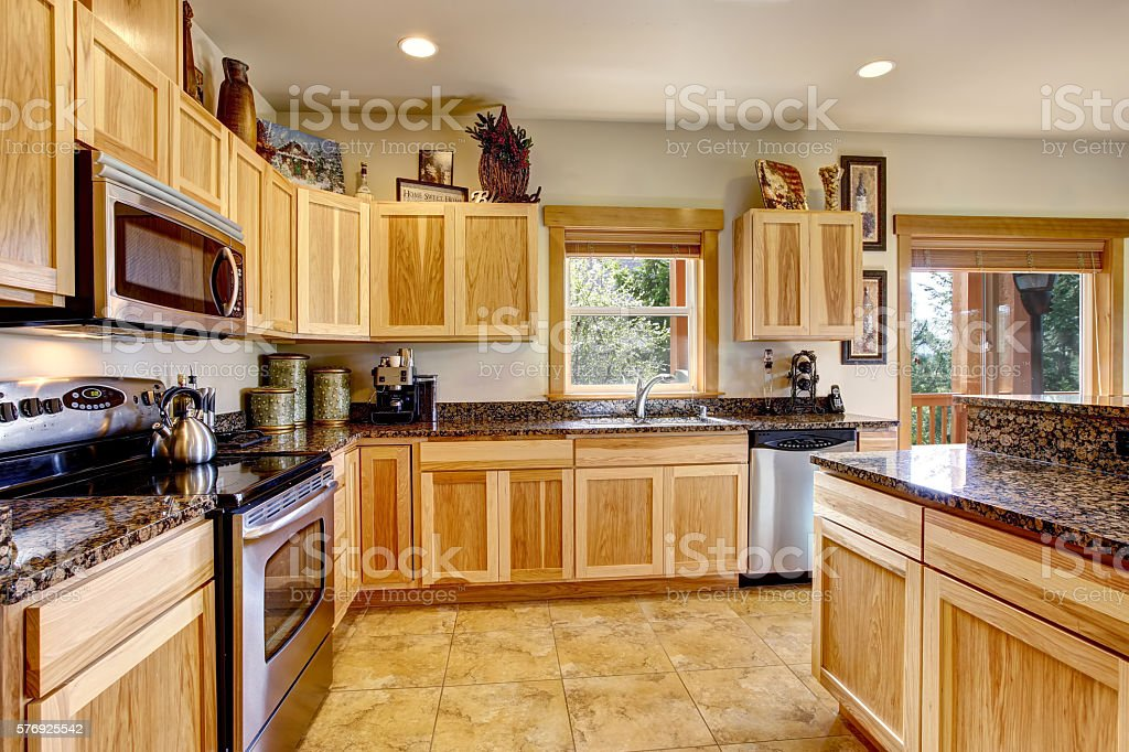 Nicely Decorated Kitchen Room Interior With Modern Cabinets Royalty Free Stock Photo