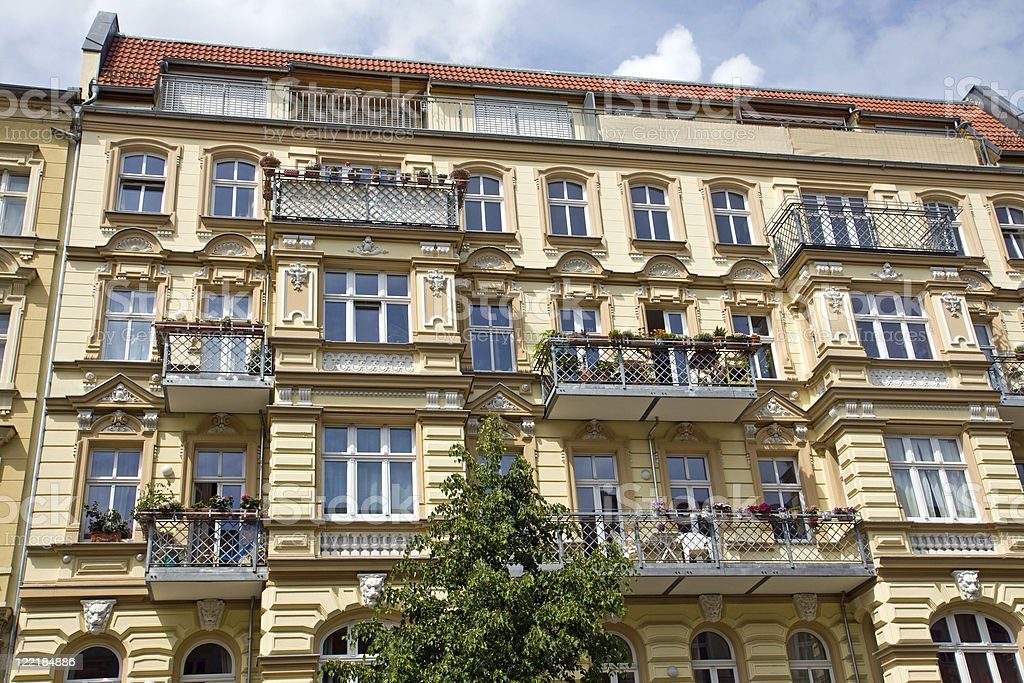 Nicely redeveloped old townhouse in Berlin stock photo