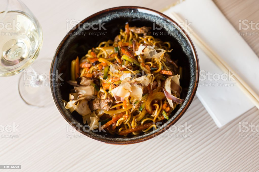 nicely served yakisoba stock photo