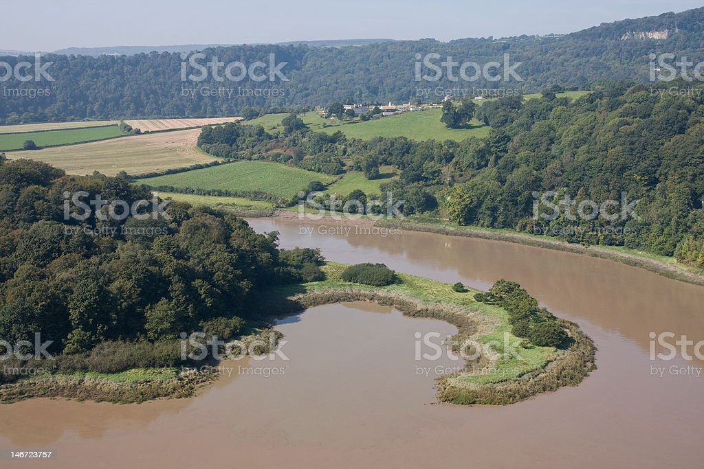 Nicely shaped peninsula on the river Wye stock photo