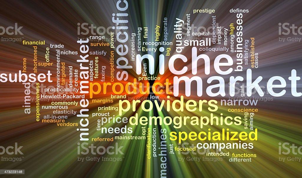 Niche market background concept glowing stock photo