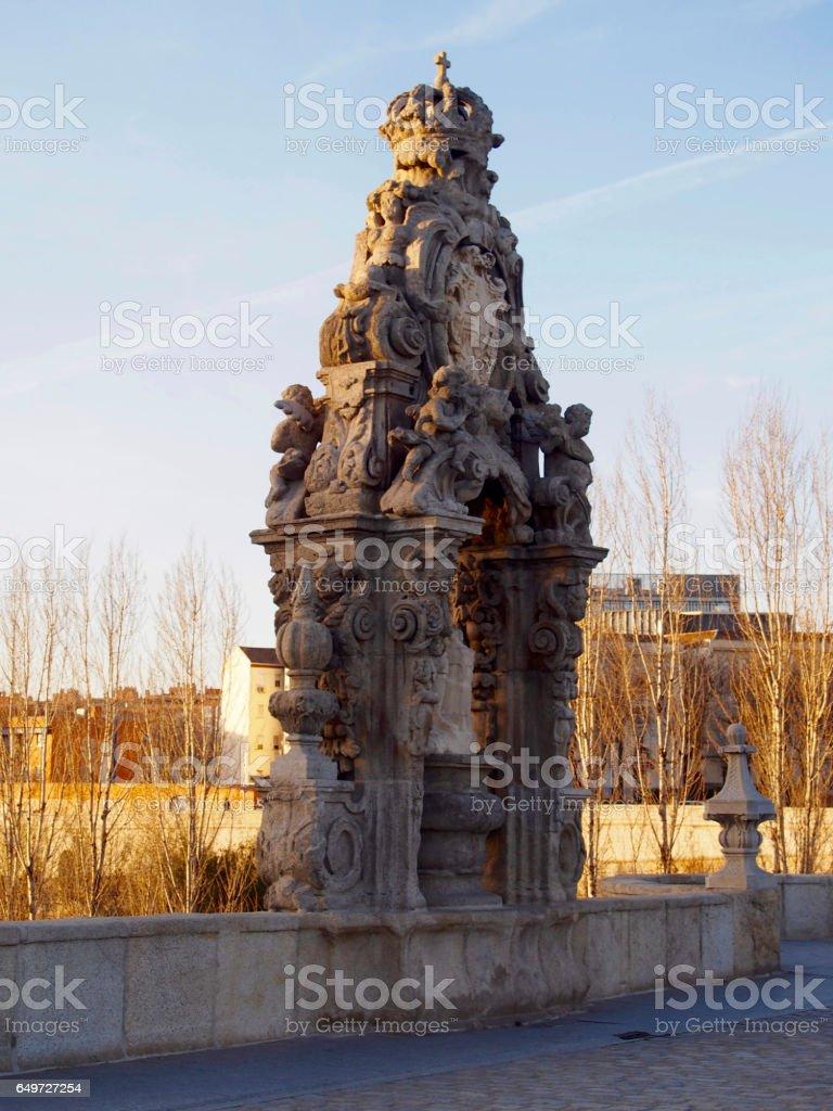 Niche of Toledo bridge in Madrid stock photo