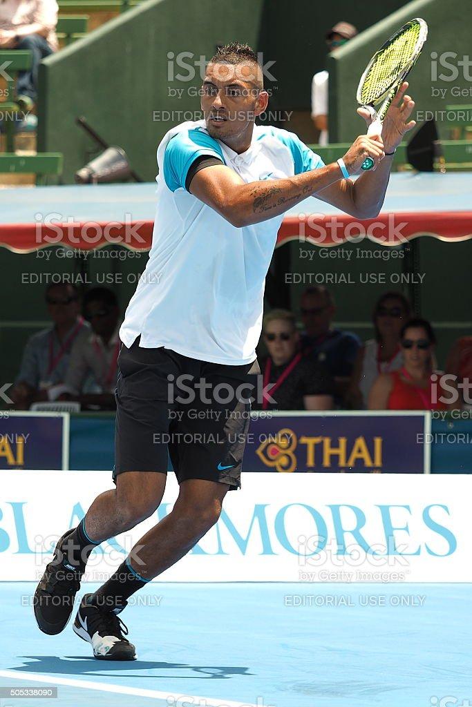 Nick Kyrgios of Australia high backhand stock photo