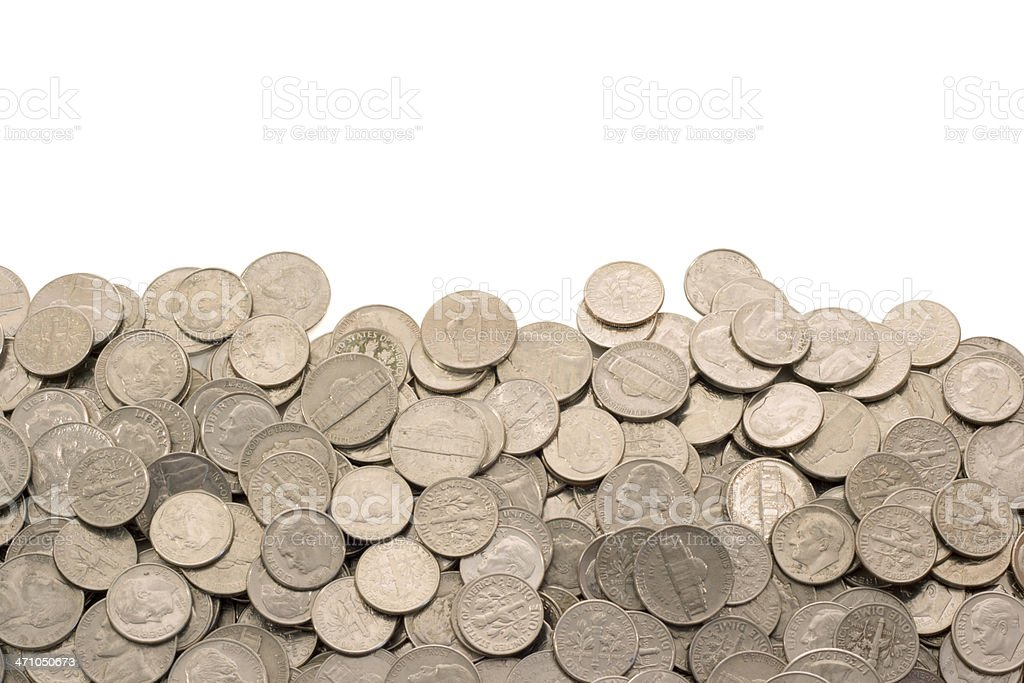 Nickel and Dime Coins, US Currency Border Frame on White stock photo