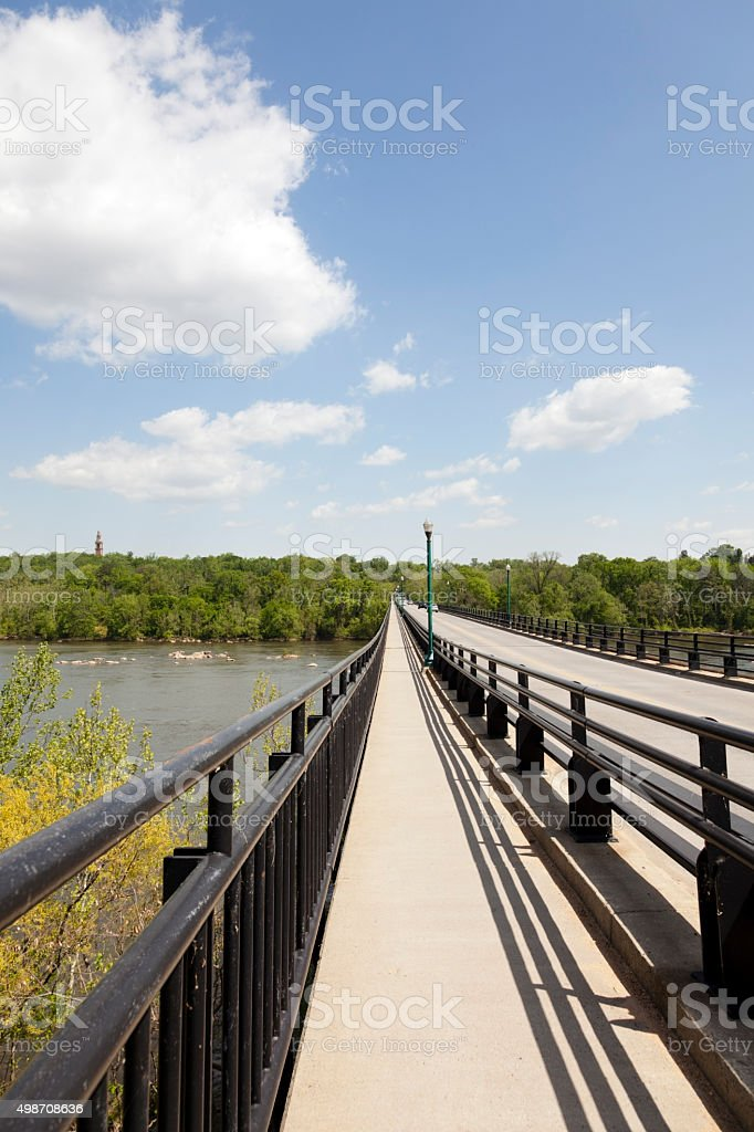 Nickel Bridge Spanning the James in River Richmond Virginia stock photo