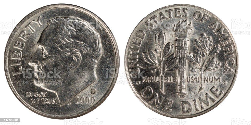 nickel dime USA stock photo