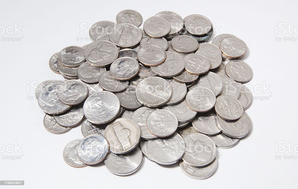 Nickels and Dimes stock photo