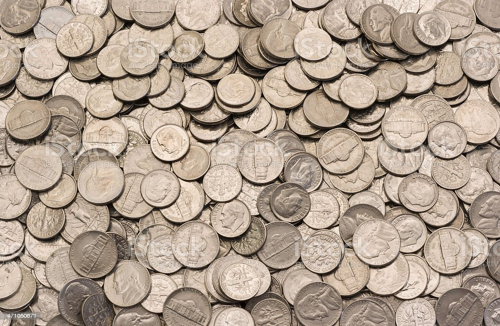 Nickels-and-Dimes stock photo