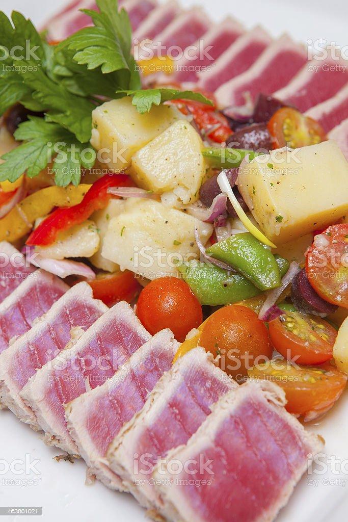 Nicoise Salad on white plate stock photo
