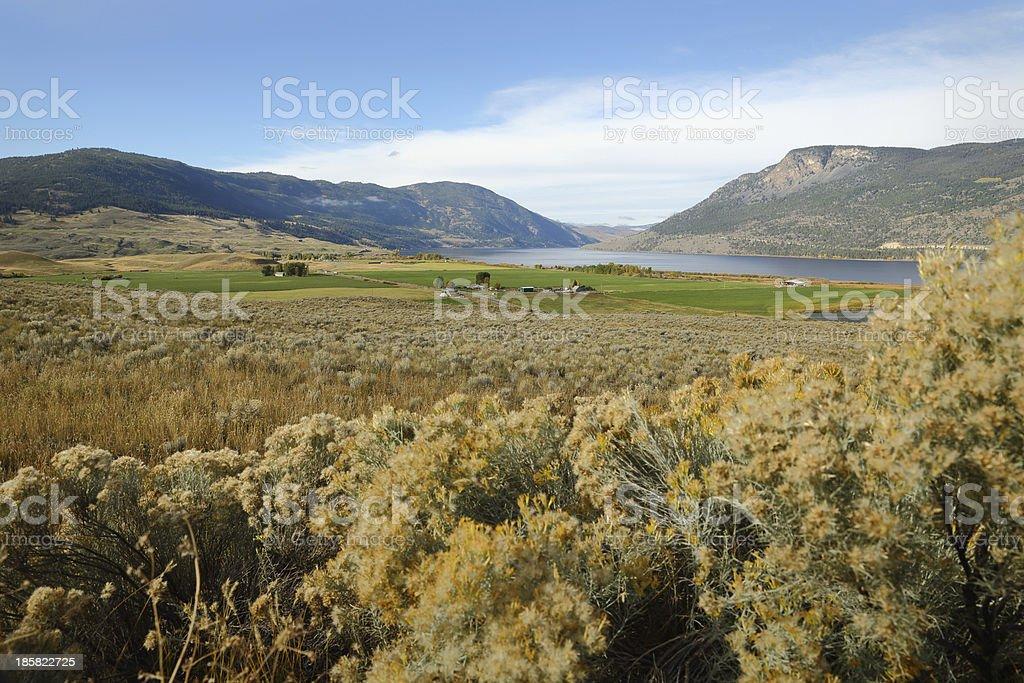 Nicola Lake and Valley, British Columbia stock photo