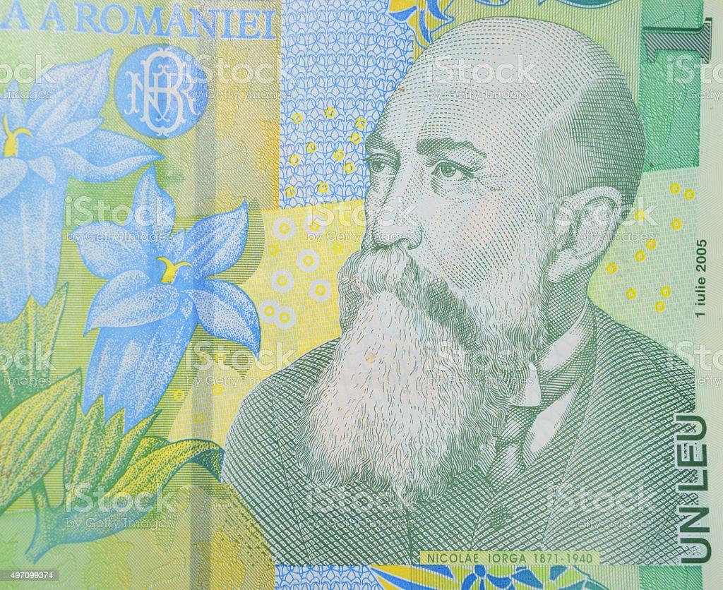 Nicolae Iorga Leu rumano billete de banco de político foto de stock libre de derechos