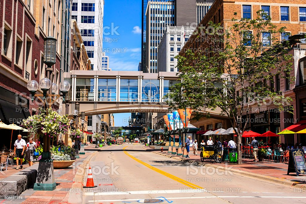 Nicollet Mall street in downtown Minneapolis MN stock photo
