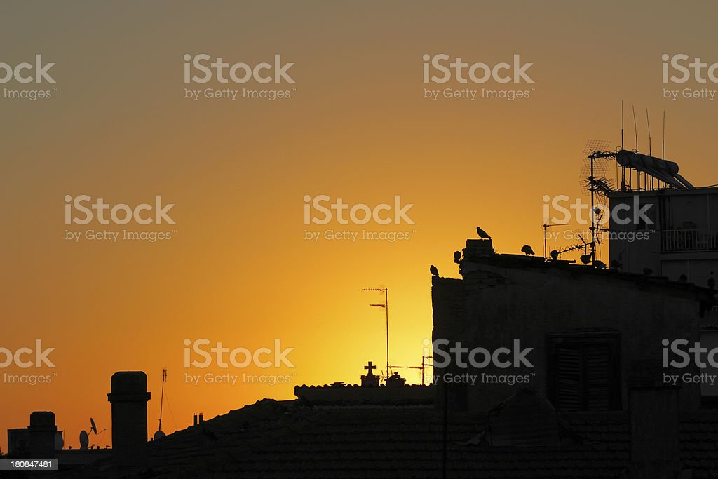 Nicosia city  roofs silhouette and antennas at dawn Cyprus royalty-free stock photo