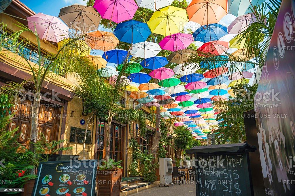 Nicosia, Cyprus: Cafe at Arasta street stock photo