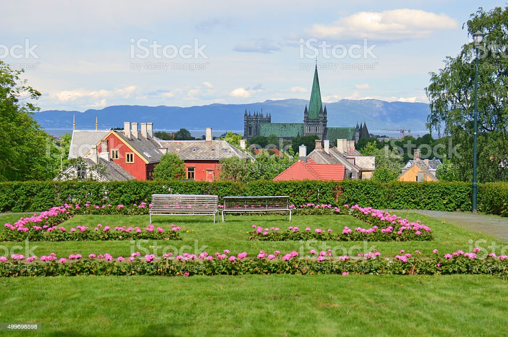 Nidaros Cathedral and Garden, Trondheim, Norway stock photo
