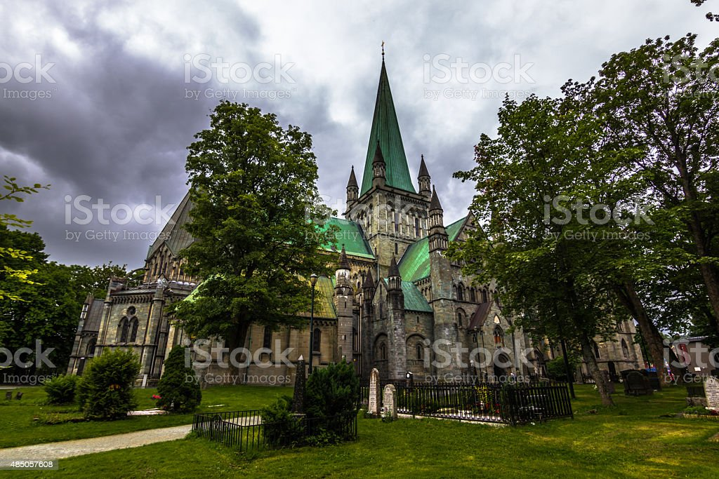 Nidaros Cathedral in Trondheim, Norway stock photo