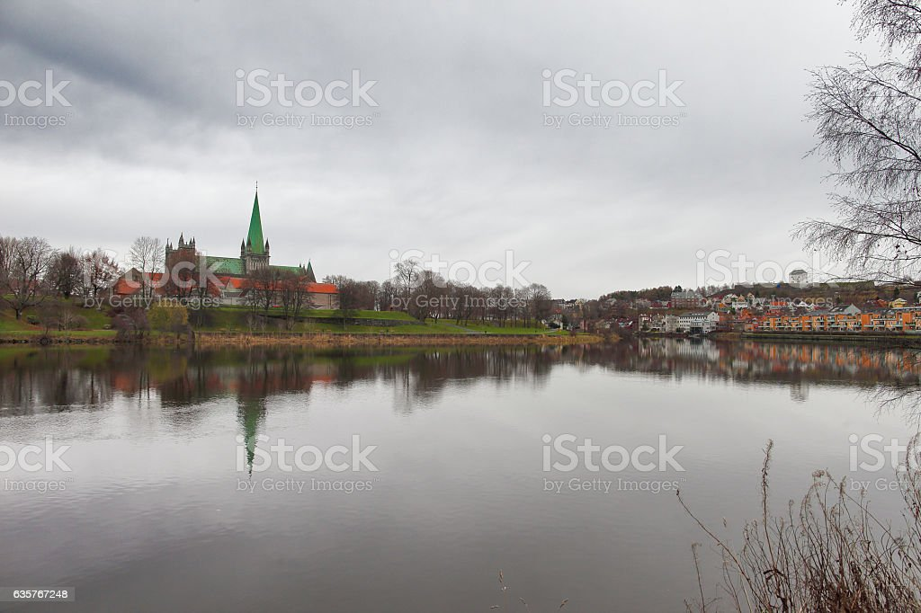 Nidaros Cathedral in Trondheim stock photo