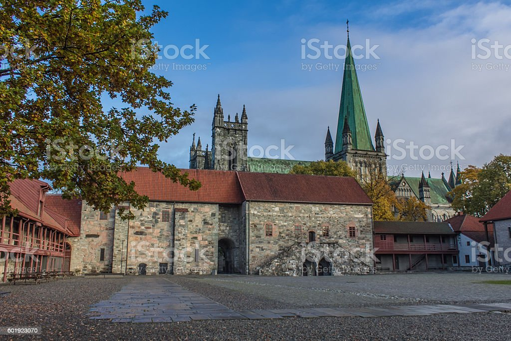 Nidarosdomen cathedral in Trondheim, Norway stock photo