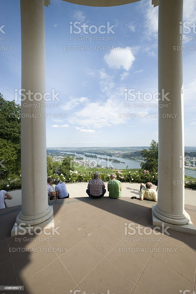 Niederwald Temple and River Rhine stock photo