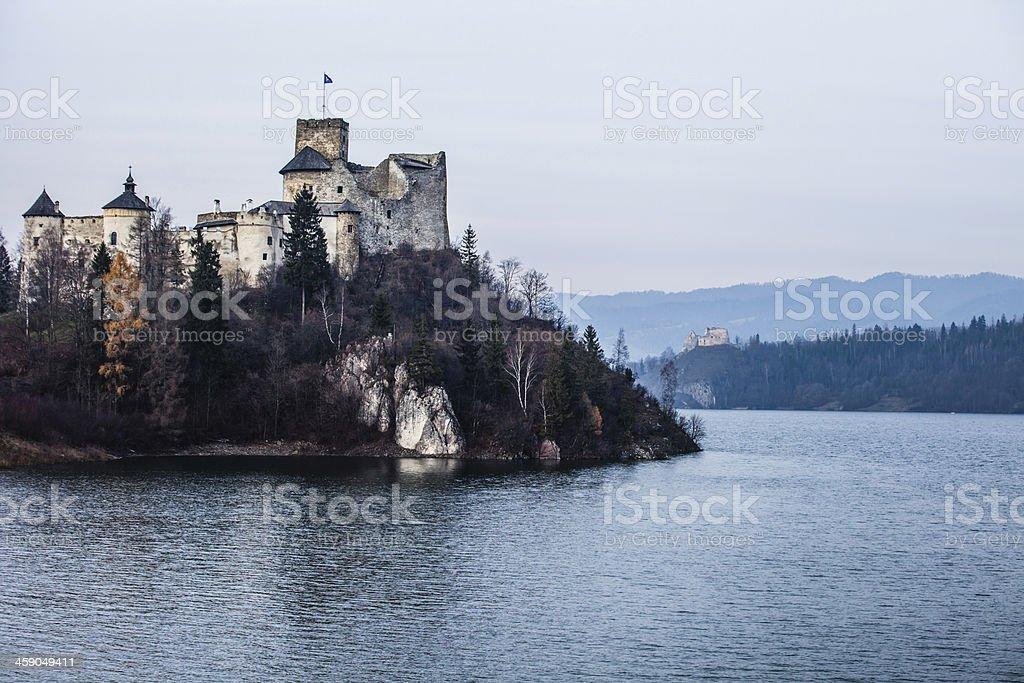 Niedzica Castle at Czorsztyn Lake in Poland stock photo