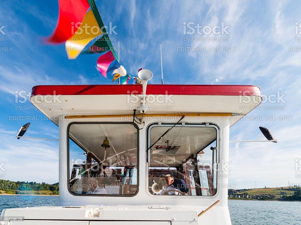 Niedzica - Czorsztyn, Poland - wheelhouse of touris boat stock photo