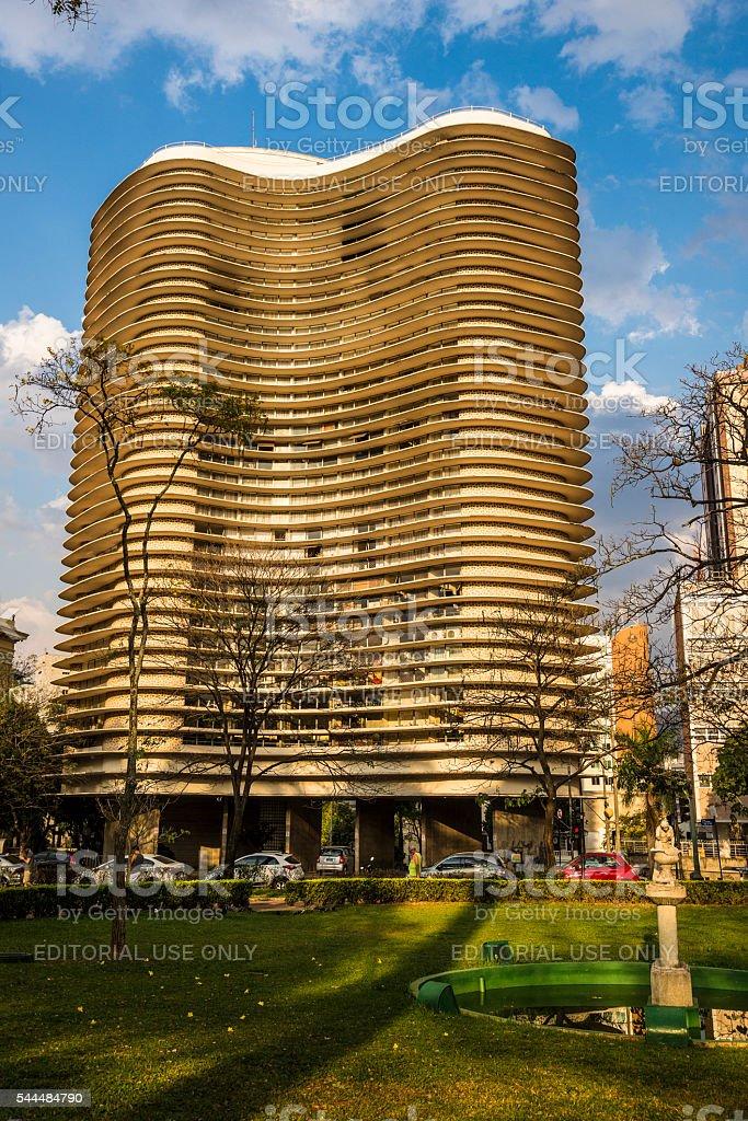 Niemeyer Building, Freedom Square, Belo Horizonte, Minas Gerais, Brazil stock photo