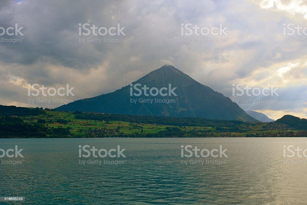Niesen-'Pyramid' mountain in Switzerland 02 stock photo