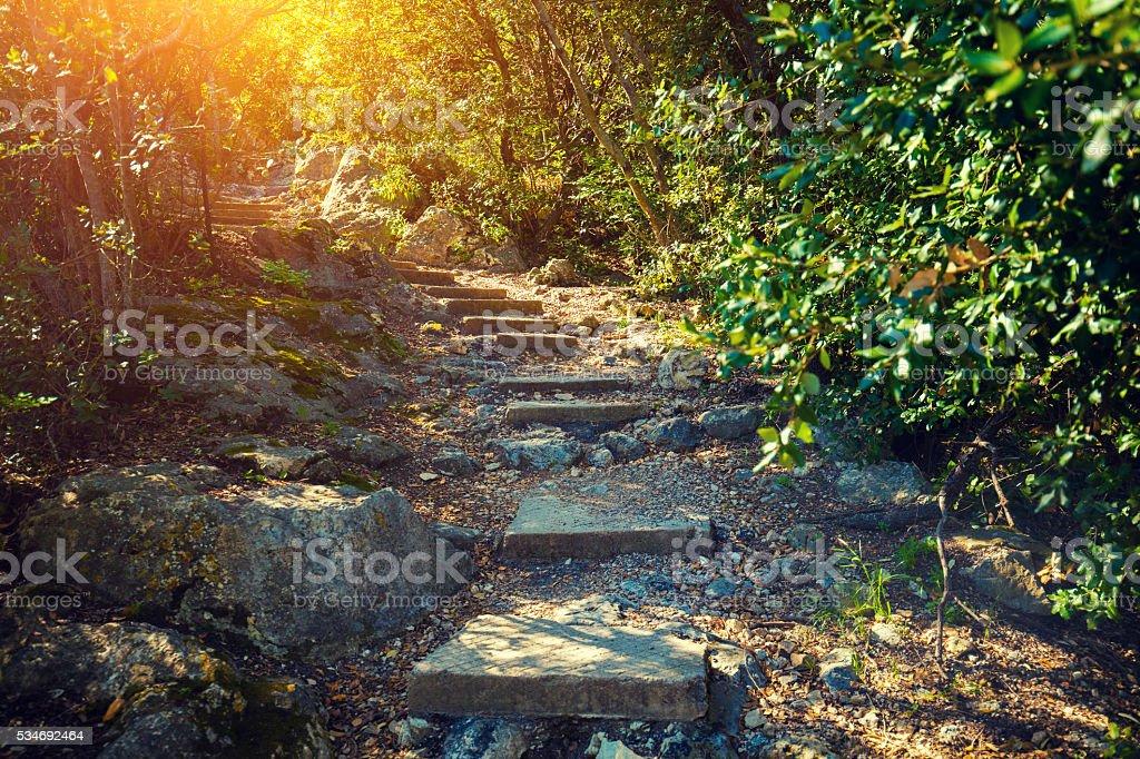 Nietzsche footpath,  Eze village, France stock photo